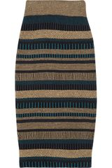 Burberry Prorsum Highwaisted Knitted Pencil Skirt in Brown (tan) - Lyst