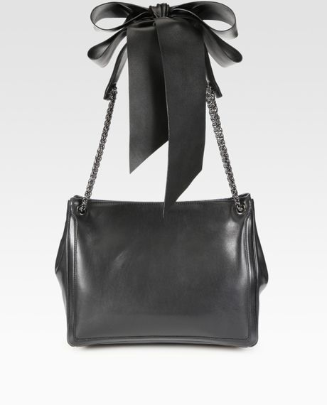 Christian Louboutin Artemis Leather Bow & Chain Tote Bag in Black - Lyst