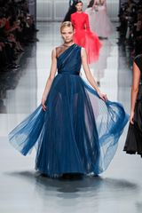 Dior Fall 2012 Sash Shoulder Sheer Plisse Evening Gown  - Lyst