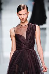 Dior Fall 2012 Sheer Inset Plisse Evening Gown  in Purple (brown) - Lyst