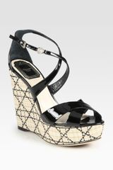 Dior Patent Leather Platform Wedge Sandals in Black - Lyst