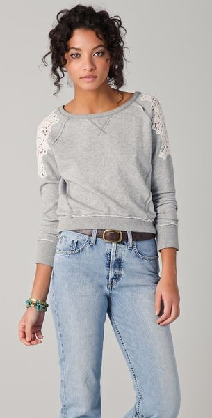 Free People Tattered Lace Pullover - Lyst