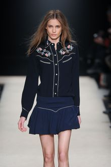 Isabel Marant Fall 2012 Long Sleeve Black Cowgirl Shirt with Floral Motifs at the Front - Lyst