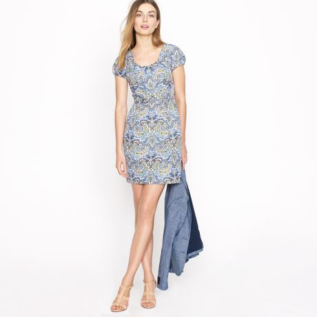 J.crew Dolores Dress in Peacock Paisley in Blue (casablanca blue)