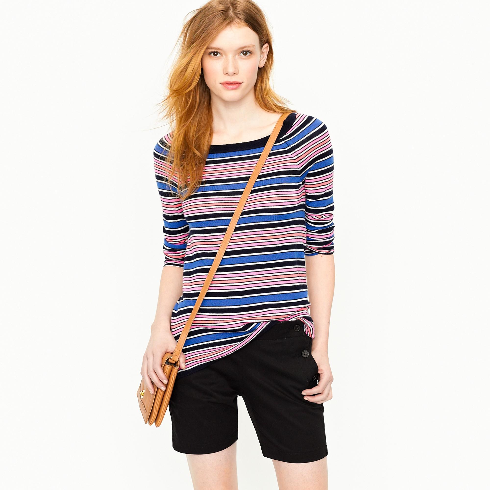 J.crew Cashmere Boatneck Sweater in Neon Multistripe in Blue | Lyst