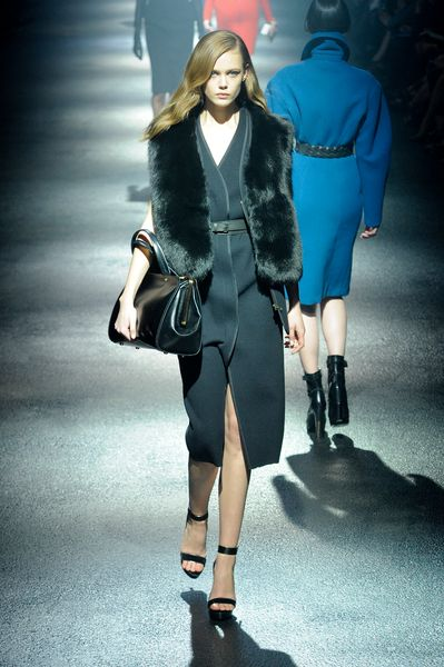 Lanvin Fall 2012 Sleeveless Belted Tailored MidLength Dress with a Deep Front Slit and Special Seaming in Black Molding Neoprene   in Black - Lyst