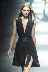 Lanvin Fall 2012 Deep V Belted Dress with Pleats - Lyst