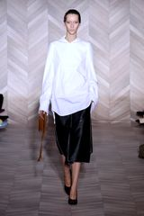 Maison Martin Margiela Fall 2012 Leather Panelled Midi Skirt  in Black - Lyst