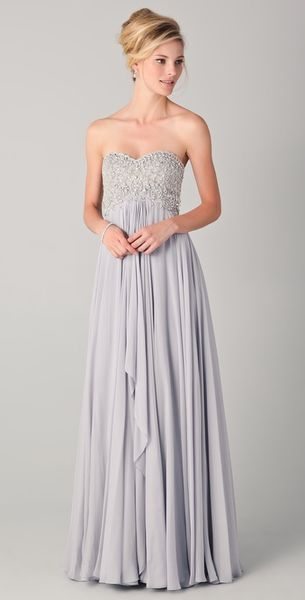 Marchesa Strapless Empire Gown with Beaded Bodice - Lyst