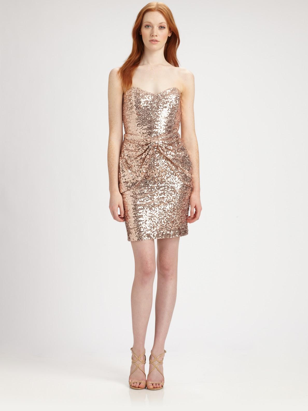 Badgley mischka Strapless Sequined Mini Dress in Metallic | Lyst