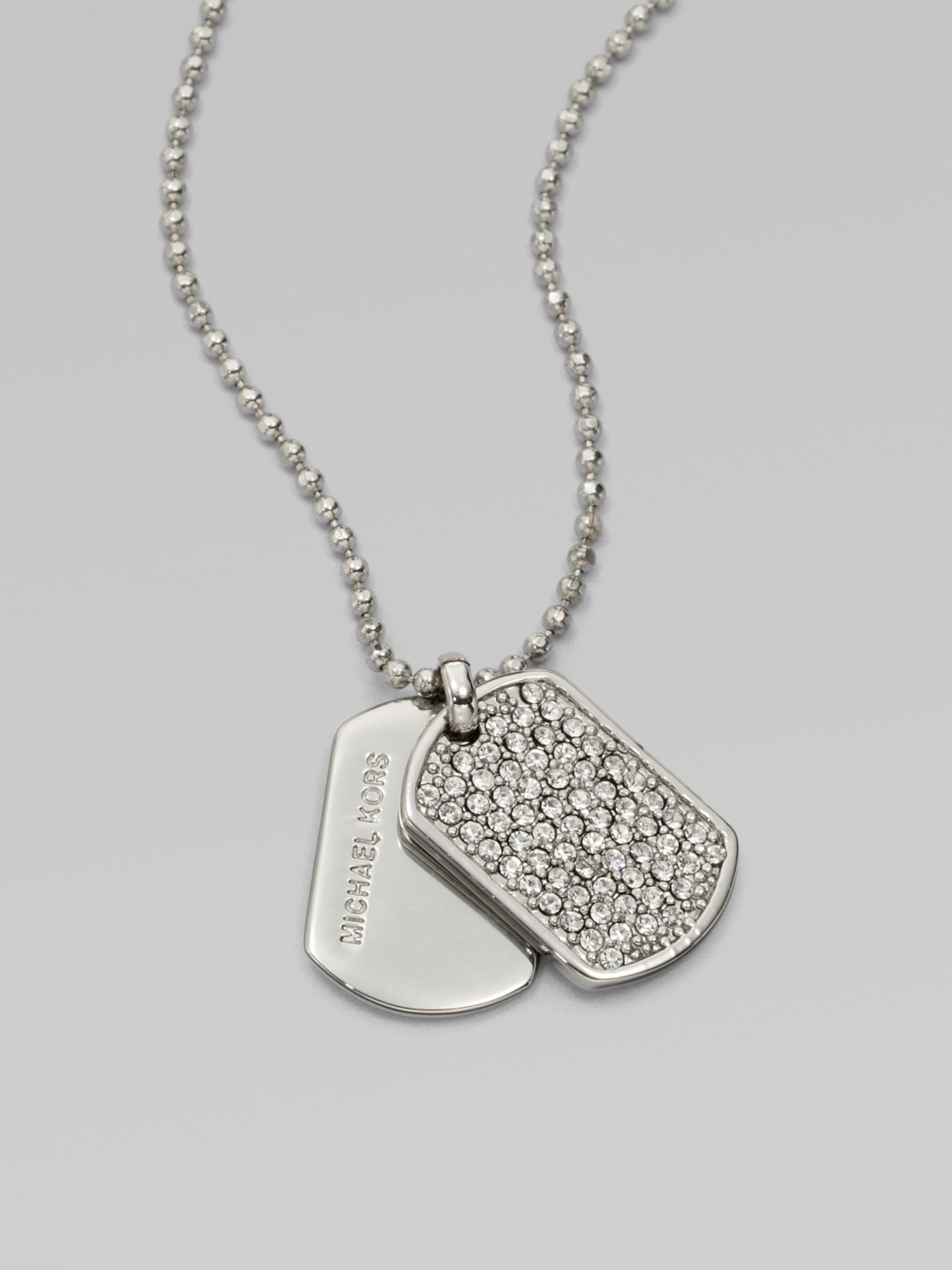 Lyst michael kors pav dog tag pendant necklace in metallic gallery aloadofball Images