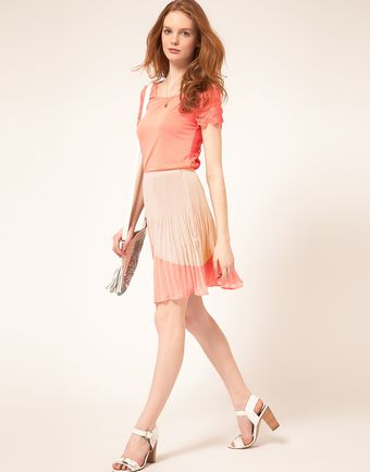 Oasis Colour Block Pleat Skirt - Lyst