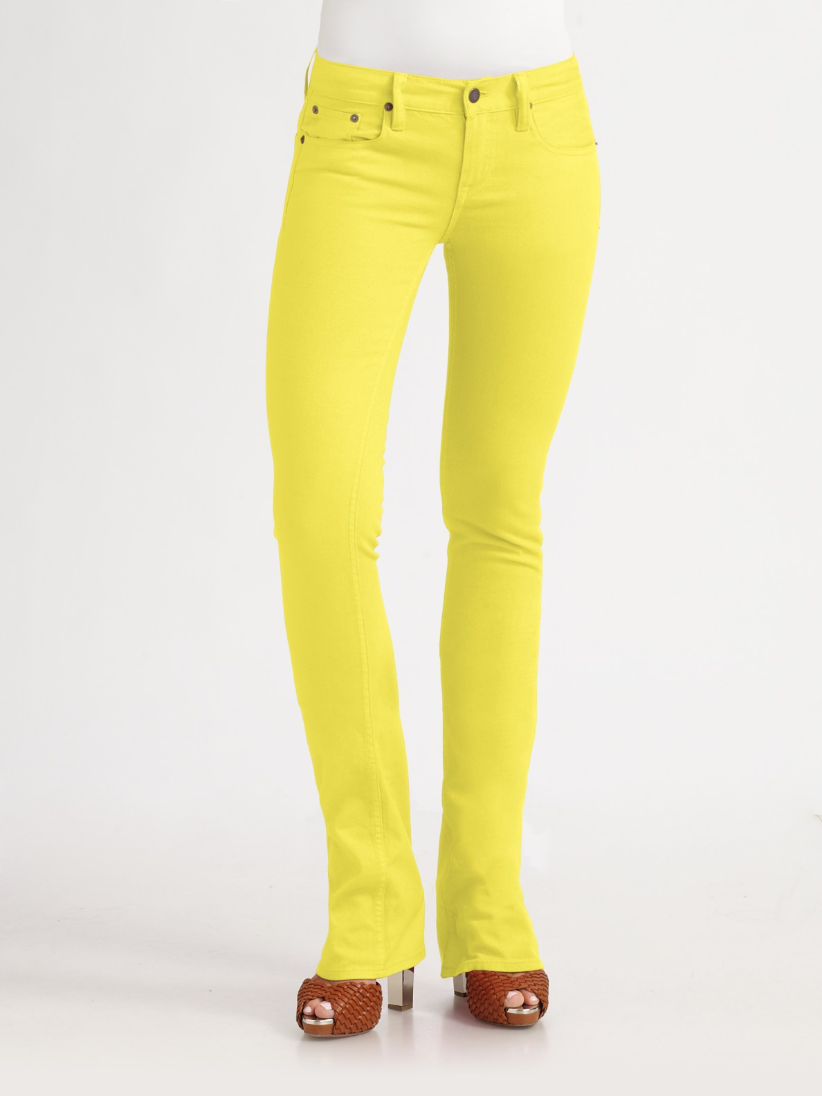 Ralph lauren blue label Stretch Slim Bootcut Jeans in Yellow | Lyst