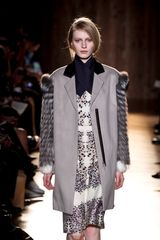 Roland Mouret Fall 2012 Knee-Length Long Sleeve Dress in Snow Leopard Print and Asymmetrical Black Collar - Lyst