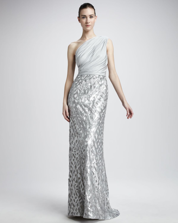 lyst tadashi shoji oneshoulder sequin skirt gown in gray