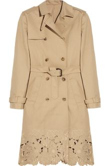 Valentino Embroidered Cotton-gabardine Trench Coat - Lyst