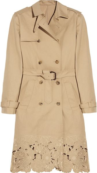 Valentino Embroidered Cottongabardine Trench Coat in Beige - Lyst