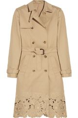Valentino Embroidered Cotton-gabardine Trench Coat