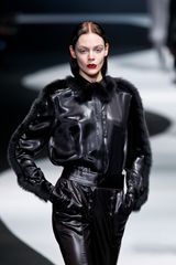 Viktor & Rolf Fall 2012 Leather Jacket with Mink Trim - Lyst
