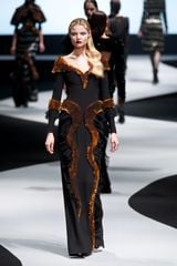 Viktor & Rolf Fall 2012 Offtheshoulder Gown with Animal Trim in Brown - Lyst