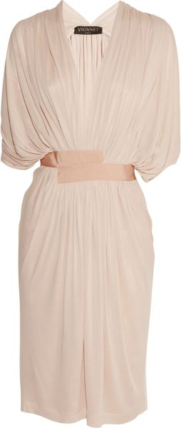 Vionnet Draped Fineknit Jersey Dress in Beige (powder) - Lyst