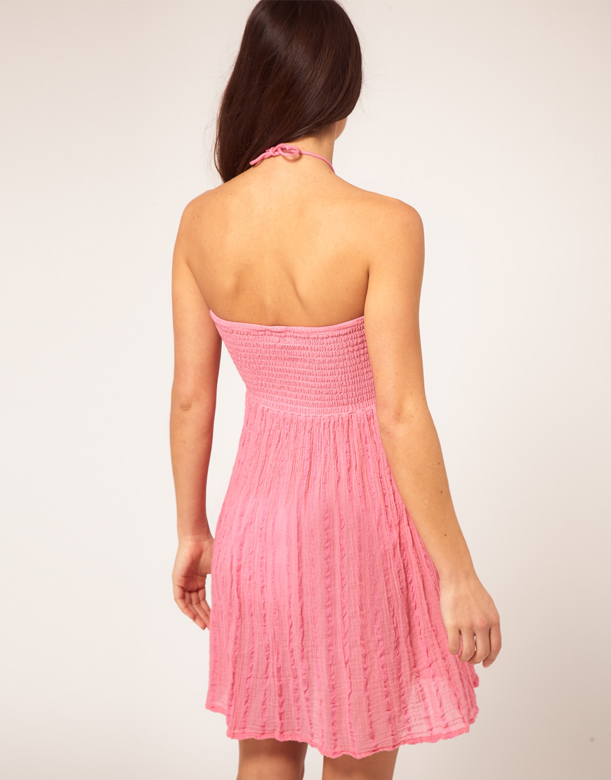 be47d1020747 Lyst - ASOS Asos Bandeau Cheesecloth Beach Dress in Pink