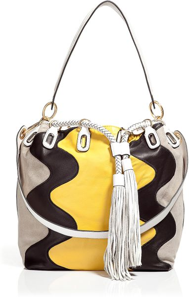 Diane Von Furstenberg Penny Wave Grey/Yellow Suede Bucket Bag in Gray (grey) - Lyst