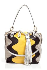 Diane Von Furstenberg Penny Wave Grey/Yellow Suede Bucket Bag