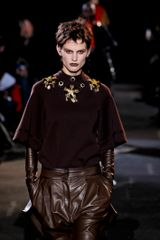 Givenchy Fall 2012 Brown Crew Neck Raglan Top With Kimono Sleeves & Embellished Neckline - Lyst