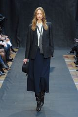 Hermes Fall 2012 Mid-Length Paneled Dark Blue Skirt with a Front Slit - Lyst