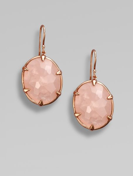 Ippolita 18k Gold & Sterling Silver Semi-precious Rose Quartz Oval Earrings in Pink (rose) - Lyst
