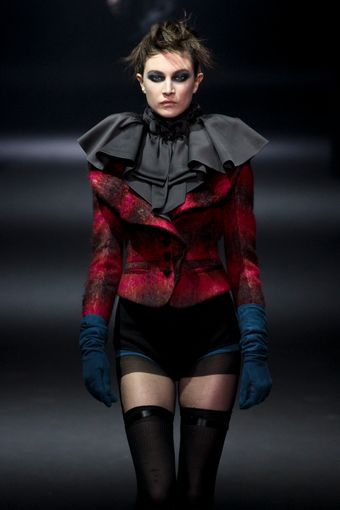 John Galliano Fall 2012 Blue Suede Gloves - Lyst