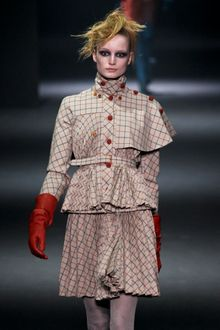 John Galliano Fall 2012 Brown Turtleneck Jacket With Pleated Peplum & Cape Details On The Shoulder - Lyst