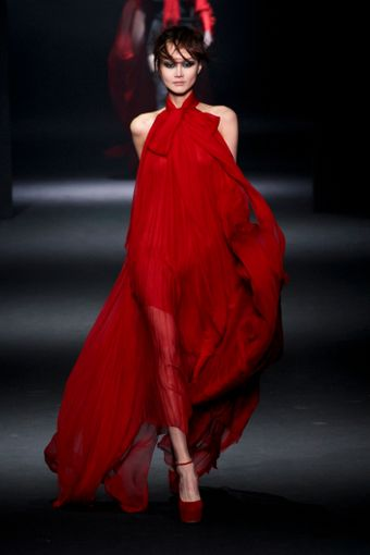 John Galliano Fall 2012 Red Chiffon Pleated Gown - Lyst
