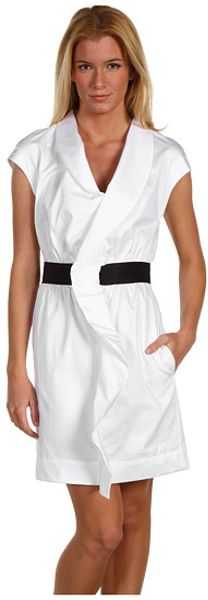 Love Moschino Cap Sleeve Dress with Ruffles in White (w)