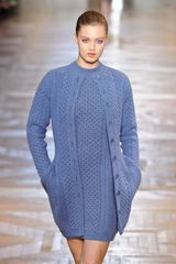 Stella McCartney Fall 2012 Oversized Knitted Blue Cardigan - Lyst