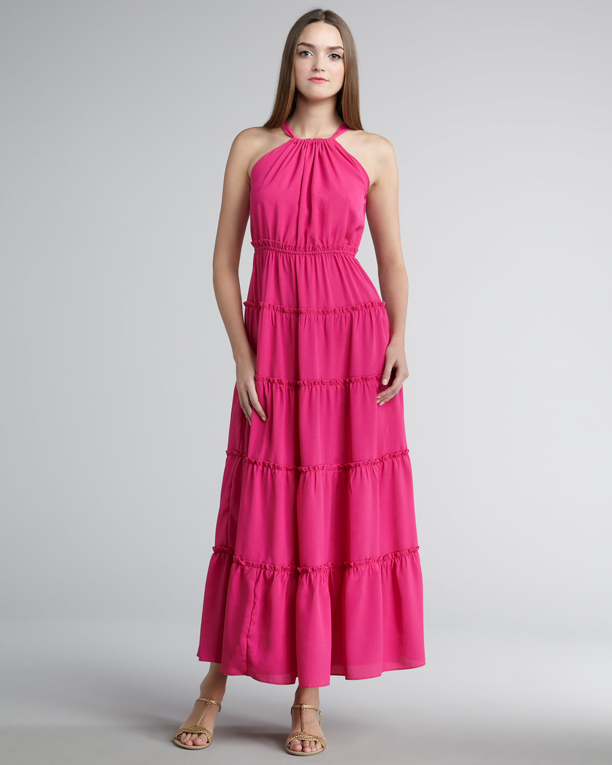 T-bags Tiered Maxi Dress in Pink - Lyst