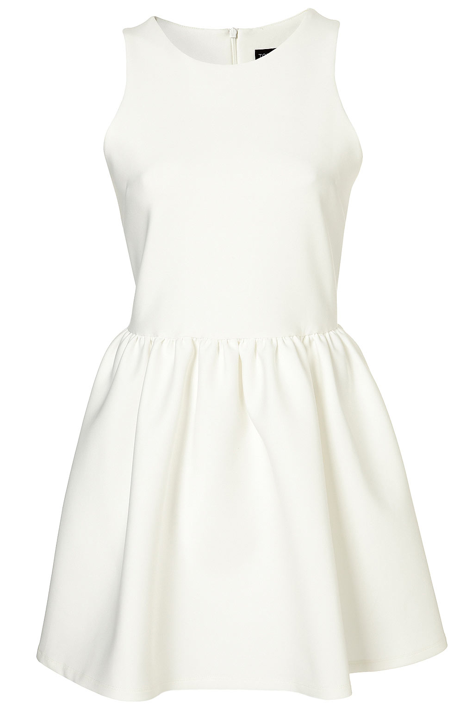 Topshop Scuba Skater Dress In White Lyst
