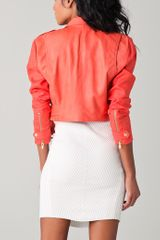 Veda Matisse Leather Jacket in Pink (coral) - Lyst