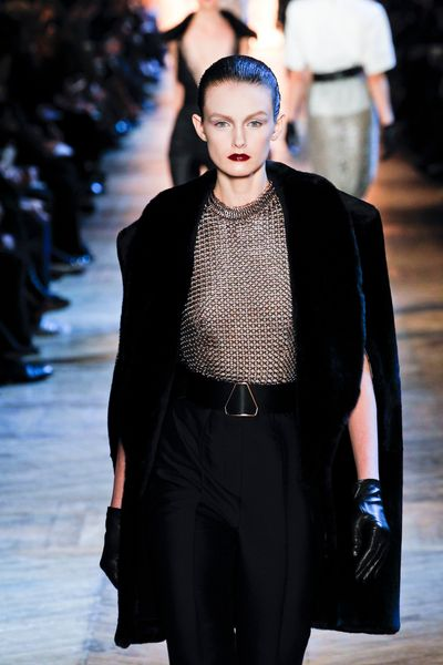 Yves Saint Laurent Fall 2012 Black Fur Trimmed Cape Coat in Black - Lyst