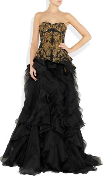 Alexander McQueen Embroidered Silk-Faille and Organza Gown - Lyst