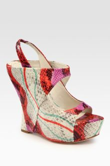 Alice + Olivia Delilah Snakeprint Leather Slingback Platform Wedge Sandals - Lyst