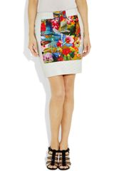 Altuzarra Lei Perforated Leather and Printed Cottonblend Skirt in Multicolor (multicolored) - Lyst