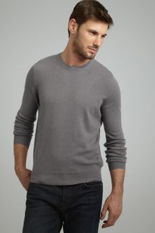 Brunello Cucinelli Grey Cashmere Crewneck Sweater - Lyst