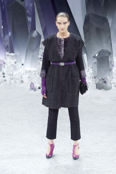 Chanel Fall 2012 Mica Sparkle Tweed Sleeveless Jacket in Blue - Lyst