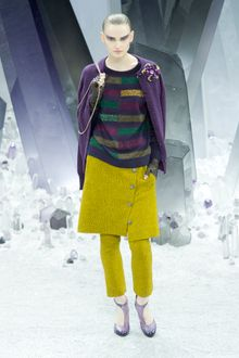 Chanel Fall 2012 Purple Cardigan WIth A Flower Brooch  - Lyst