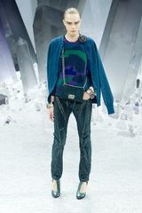 Chanel Fall 2012 Textured Straight Pants In Blue in Blue - Lyst