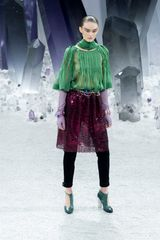 Chanel Fall 2012 KneeLength Metallic Tingled Purple Skirt  in Gold - Lyst