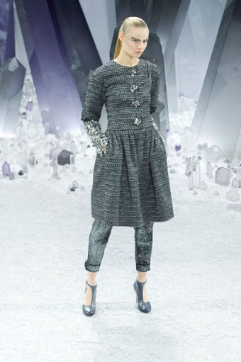 Chanel Fall 2012 Gray Cropped Pants WIth Cuffed Hem - Lyst