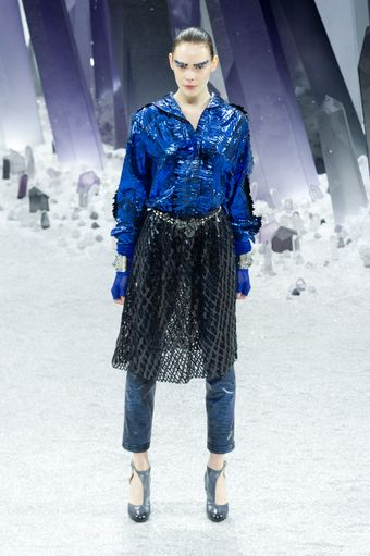 Chanel Fall 2012 Shimmer Reflective Slim Pants  - Lyst